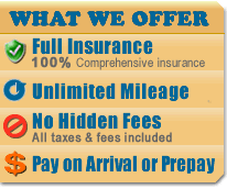 Cheap prices on car rentals with full insurance, unlimited mileage and no hidden fees